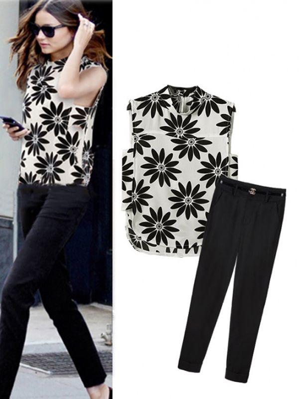 Hot Sale 2Pcs Floral Print Sleeveless Chiffon Blouse Black Pants