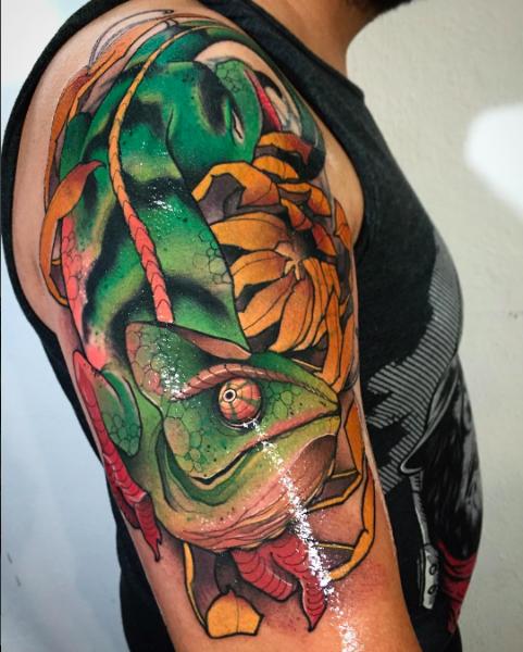 Tattoo Flash Chameleon Lizard: Neo Traditional Chameleon By John Mendoza Tattoo