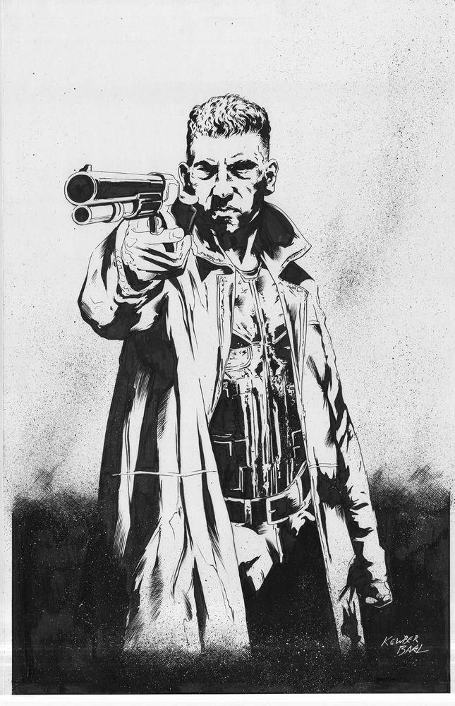 Punisher Netflix Daredevil series original comic art by Kewber Baal