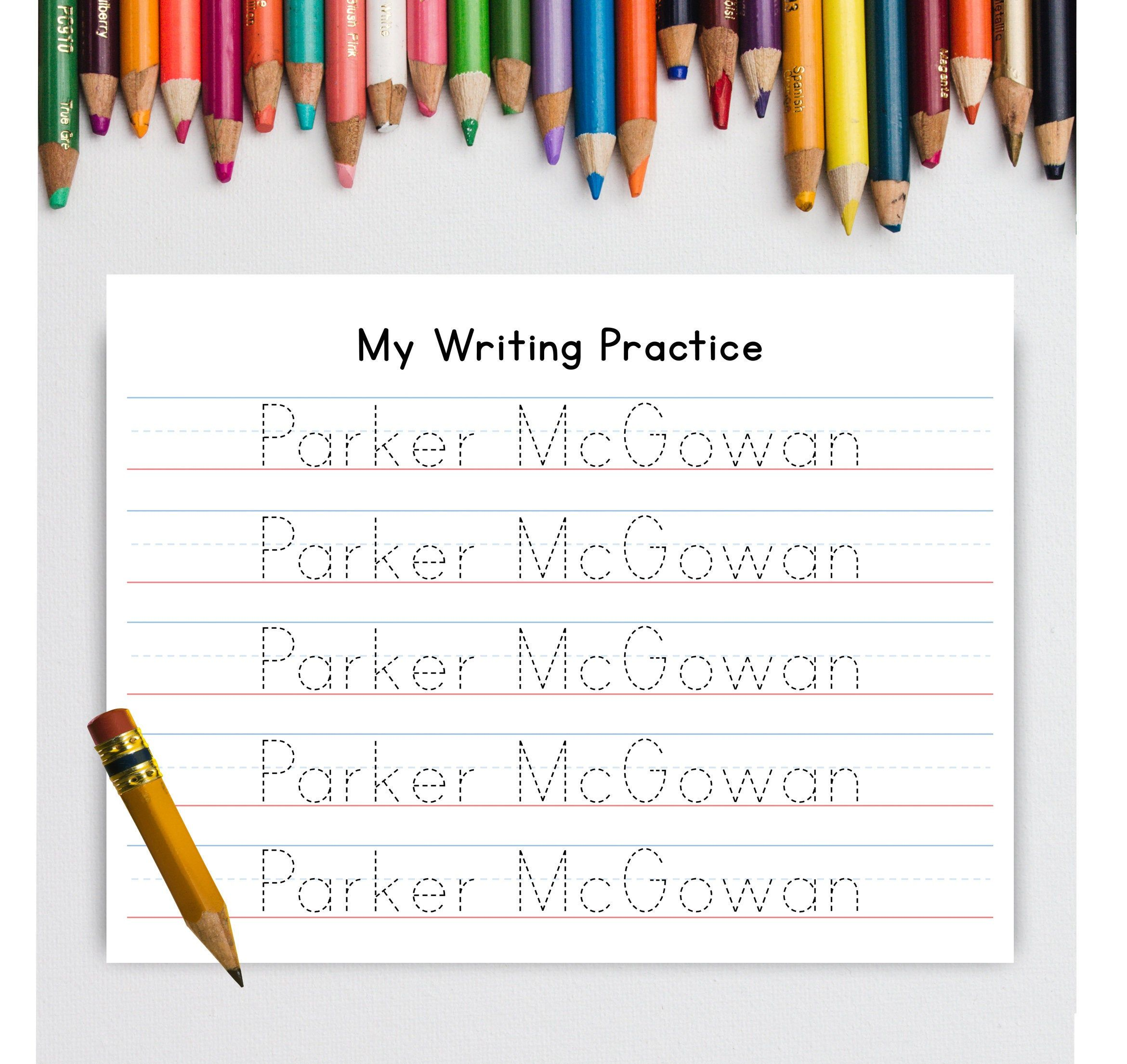 Personalized Writing Practice Worksheet Printable Name Tracing Etsy Writing Practice Worksheets Writing Practice Paper Writing Practice Handwriting name practice worksheets