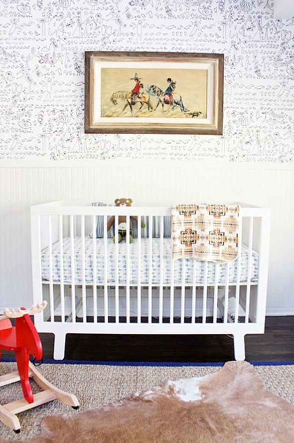 Rug And Painting Vintage Nursery Boy Modern White Western