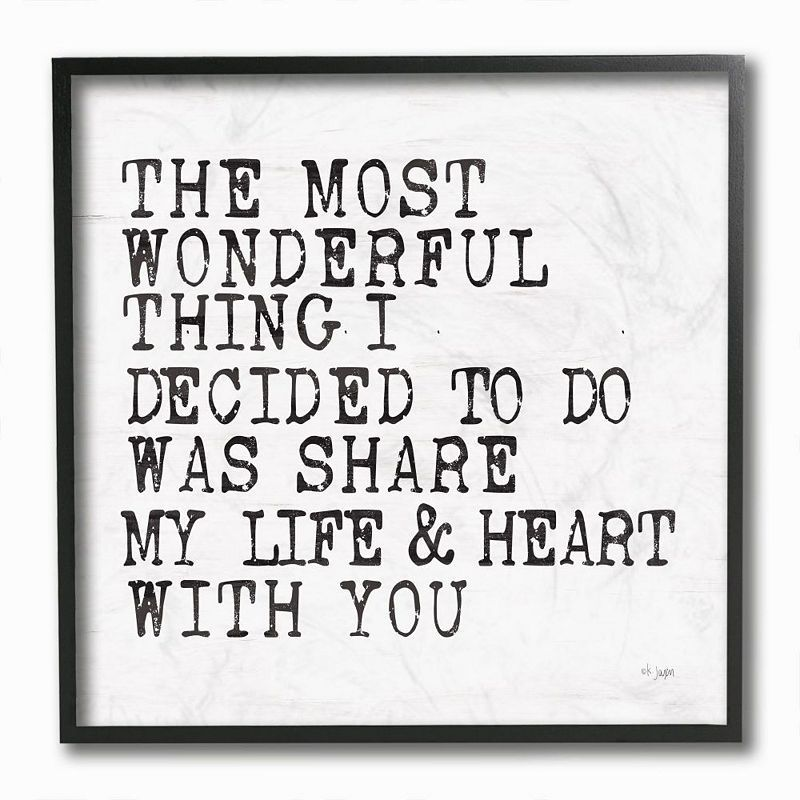 Stupell Home Decor Wonderful Thing to Share My Life Inspirational Love Quote Wall Art, White, 12X12