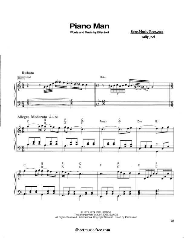 Piano Man Sheet Music Billy Joel With Images Sheet Music