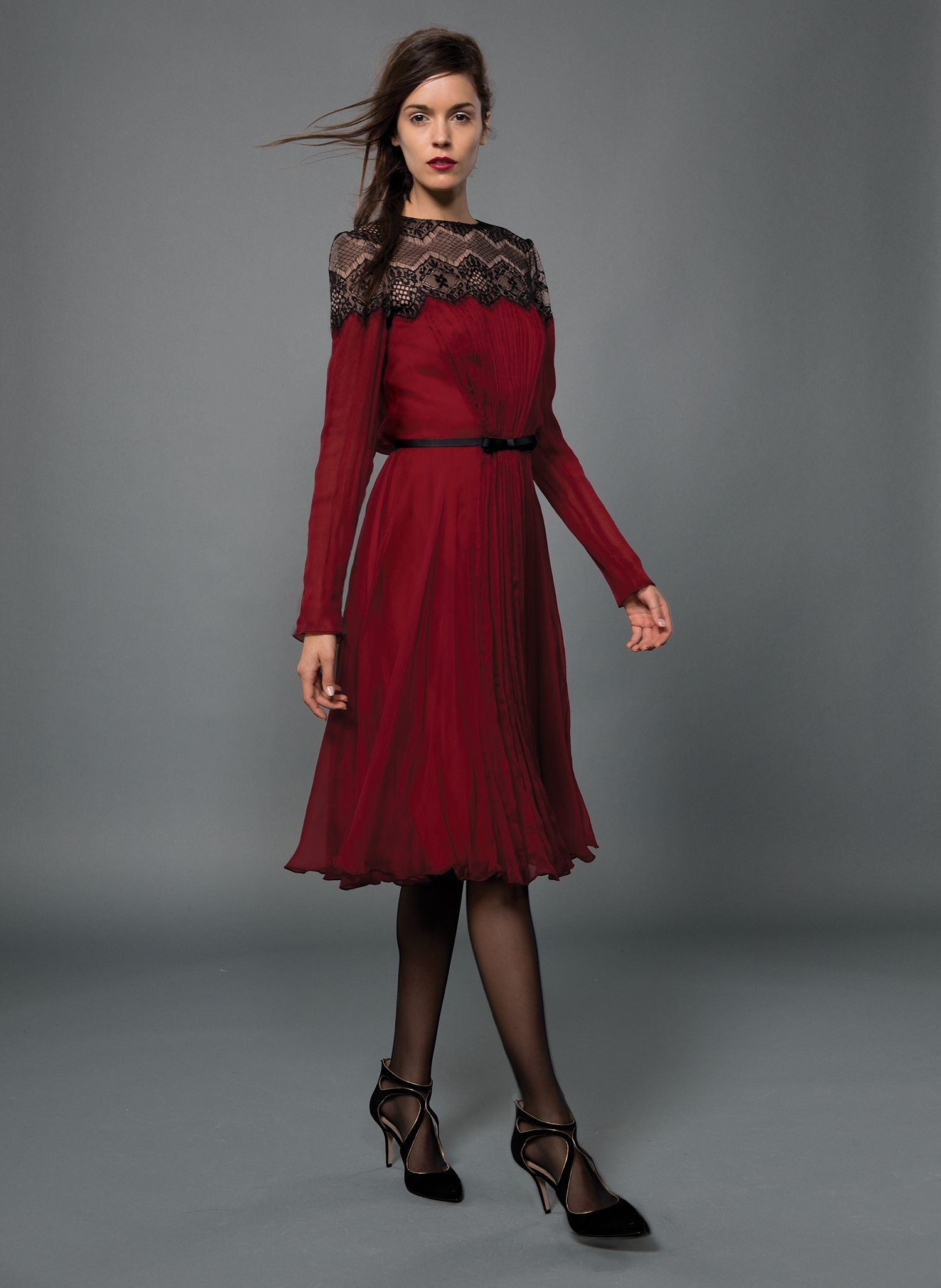 Draped front long sleeve blouson back dress with lace neckline and