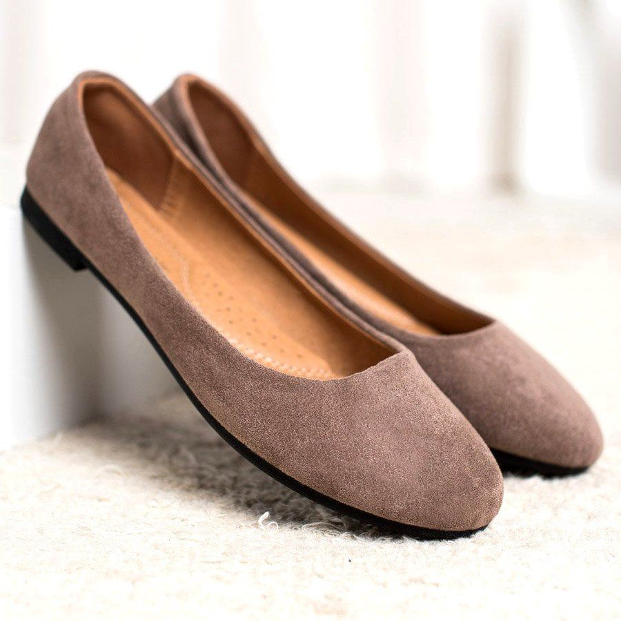Diamantique Klasyczne Zamszowe Baleriny Brazowe Shoes Fashion Flats