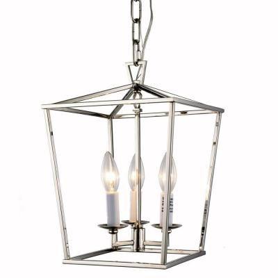Elegant Lighting Denmark 3 Light Polished Nickel Pendant 1422D9PN