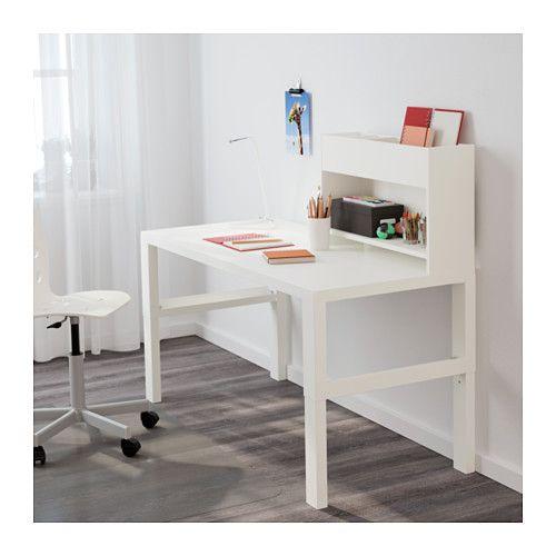 Eckschreibtisch weiß mit aufsatz  PÅHL Schreibtisch mit Aufsatz, weiß, blau | Schreibtisch mit ...