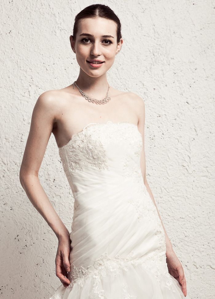 Strapless With Dropped Waist Tulle Wedding Dress | colorful wedding ...