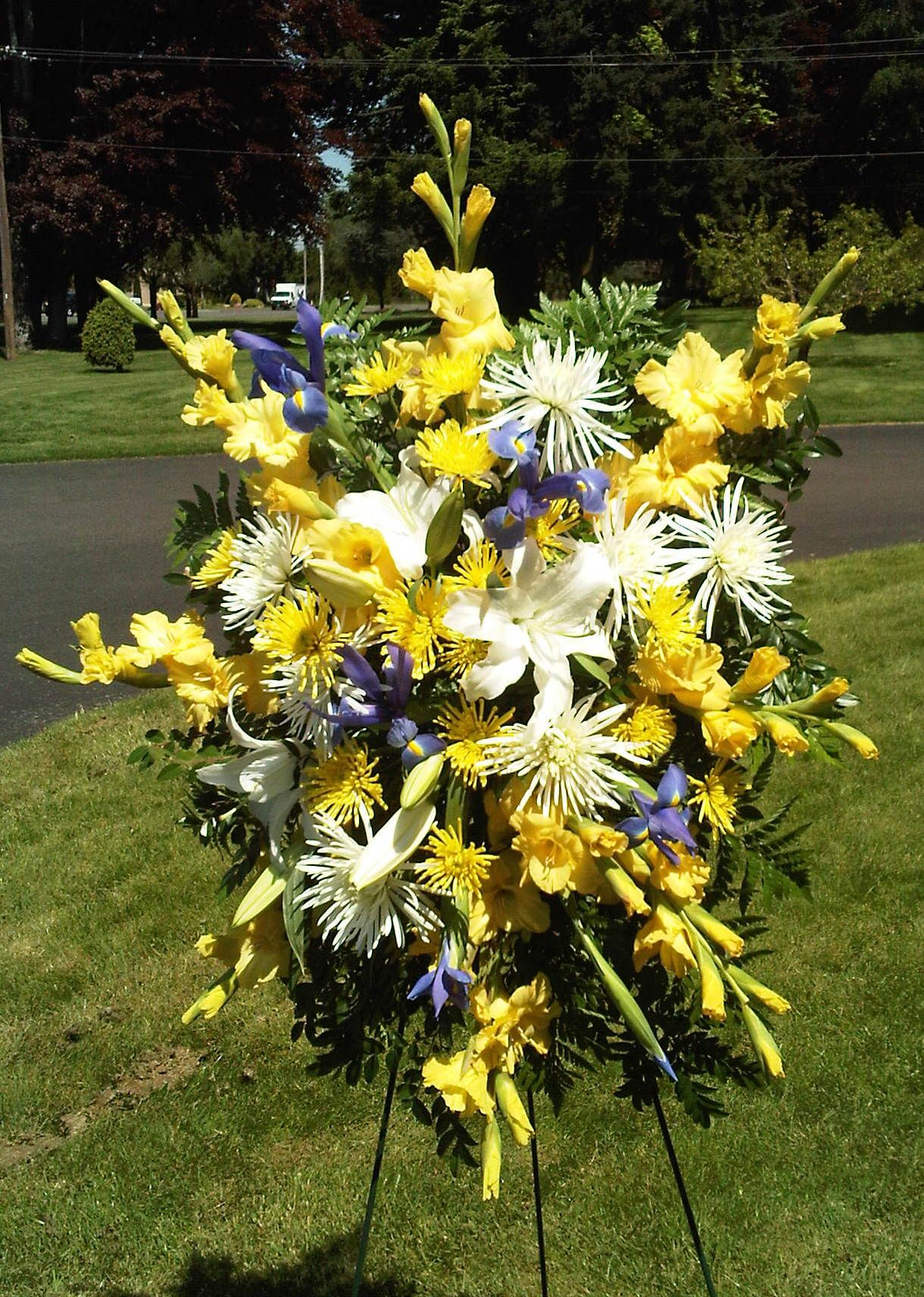 Yellow And Blue Flower Arrangements Stock Flower Images