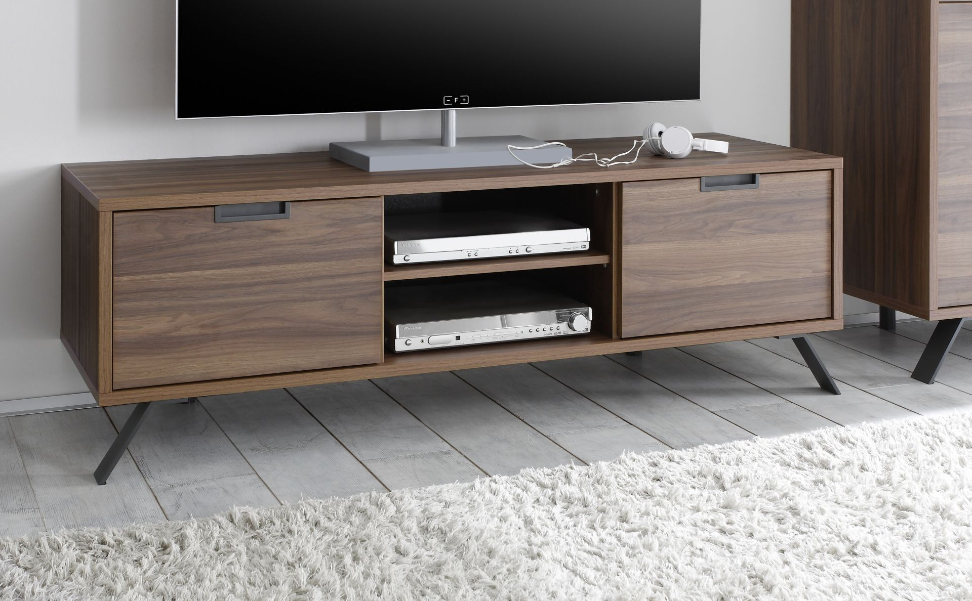 Walnut Color Wooden Italian TV Stand