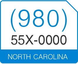 Awesome North Carolina Area Code 980 Local Vanity Telephone Number