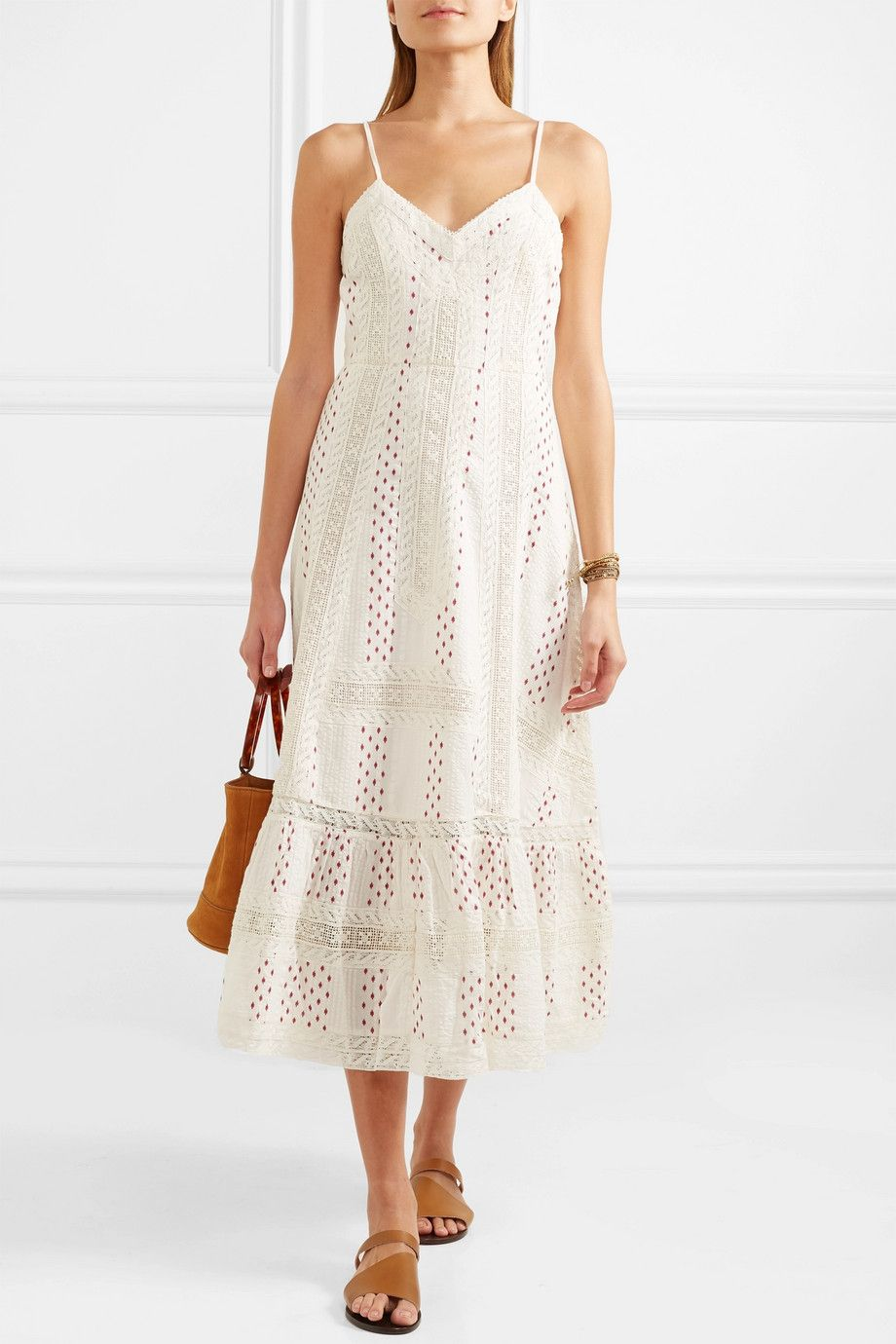 Marlow Crocheted Lace-trimmed Printed Cotton Midi Dress - Ivory LoveShackFancy MqIoTGAaXN