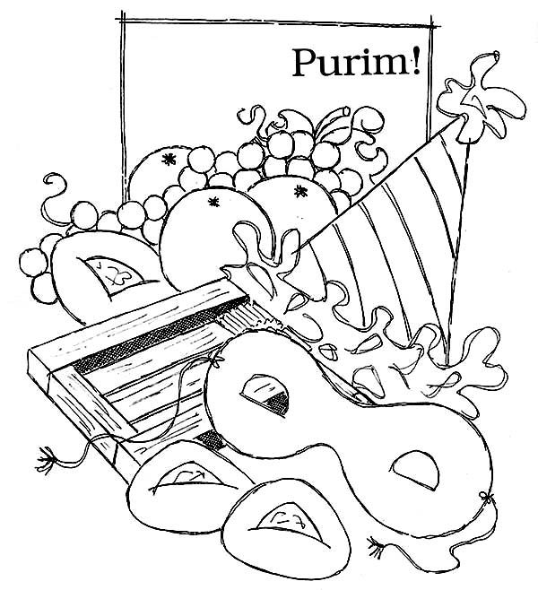 Purim, : Purim Holiday Food Coloring Page | Infant art projects ...