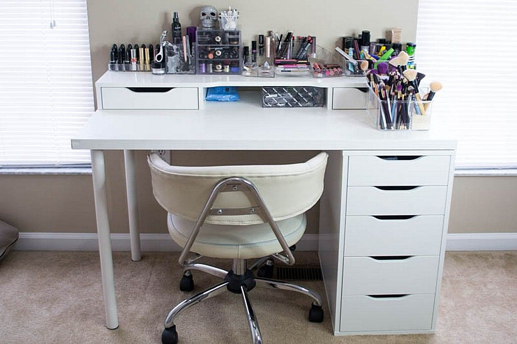 White Ikea Vanity Makeup Table With Alex Drawer And
