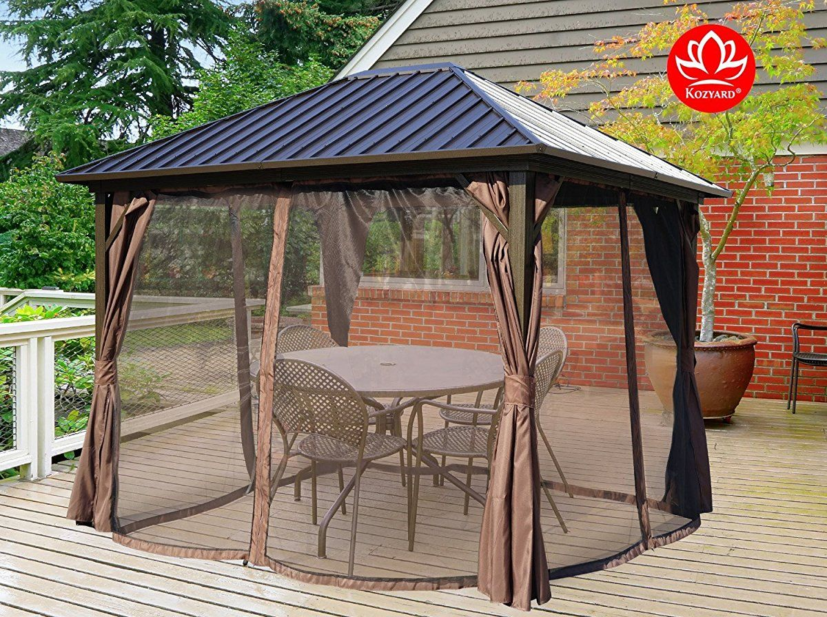 Kozyard Rosana 10x12 Hardtop Aluminum Permanent Gazebo With 2 Layer Sidewalls Rosana 10x12 Permanent Gazebo Patio Gazebo Gazebo