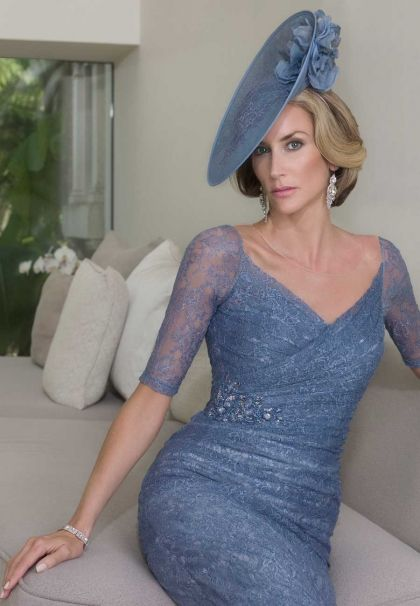 This Dusty Blue Mother Of The Groom Dress Has Sheer Sleeves That
