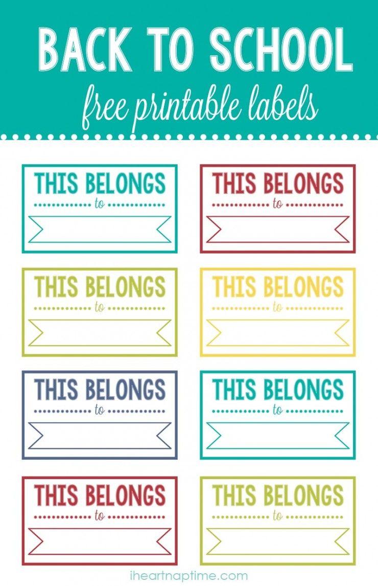 Back To School Printable Labels School Labels School