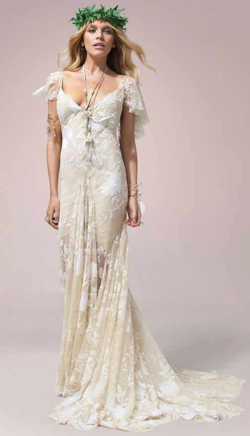 Boho Chic Off White Wedding Dress With Flutter Sleeves Perfect For A Beach