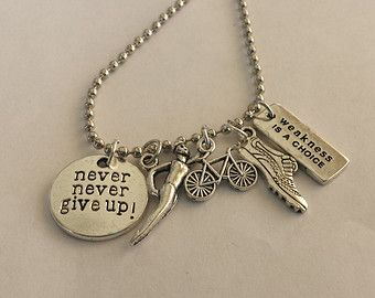 Ironman triathlon multisports never never give up weakness is a ironman triathlon multisports never never give up weakness is a choice charm pendant necklace great motivational jewelry for athletes aloadofball Images