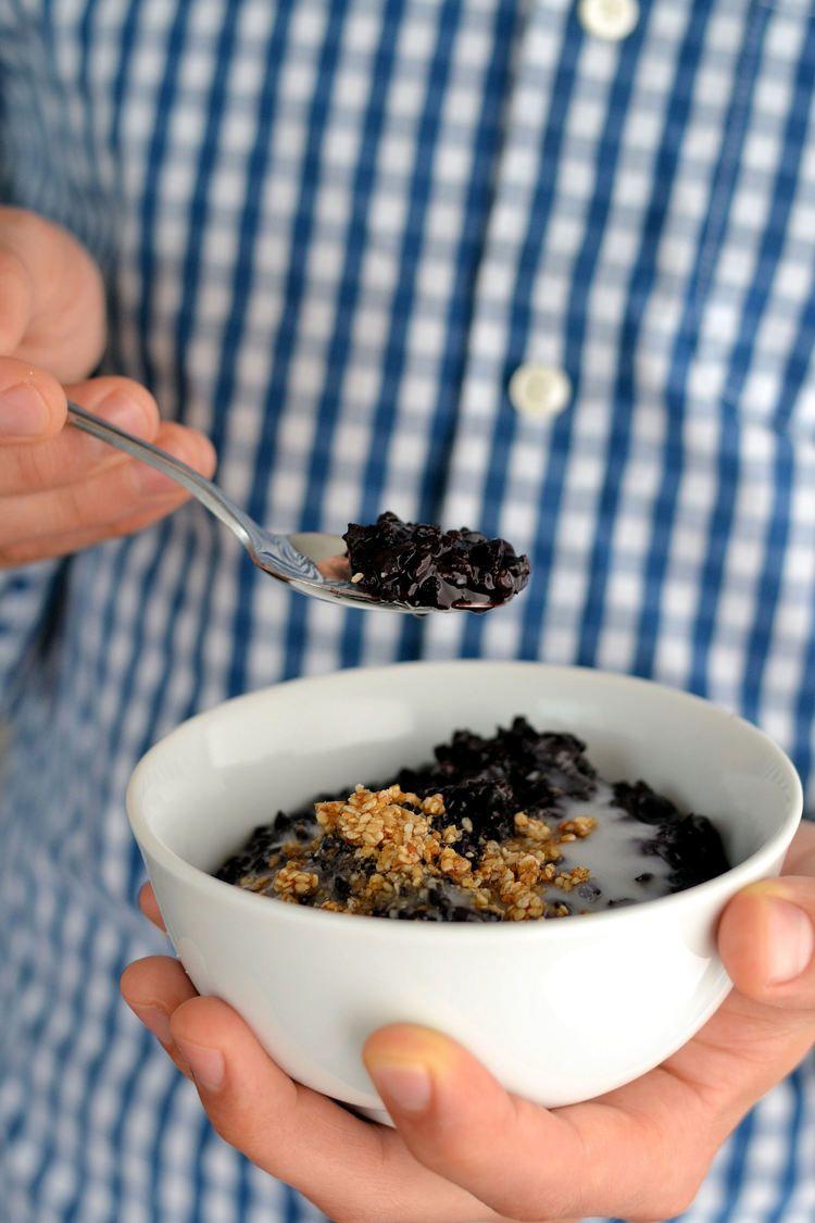 Black rice pudding, salted coconut milk + sesame brittle ...