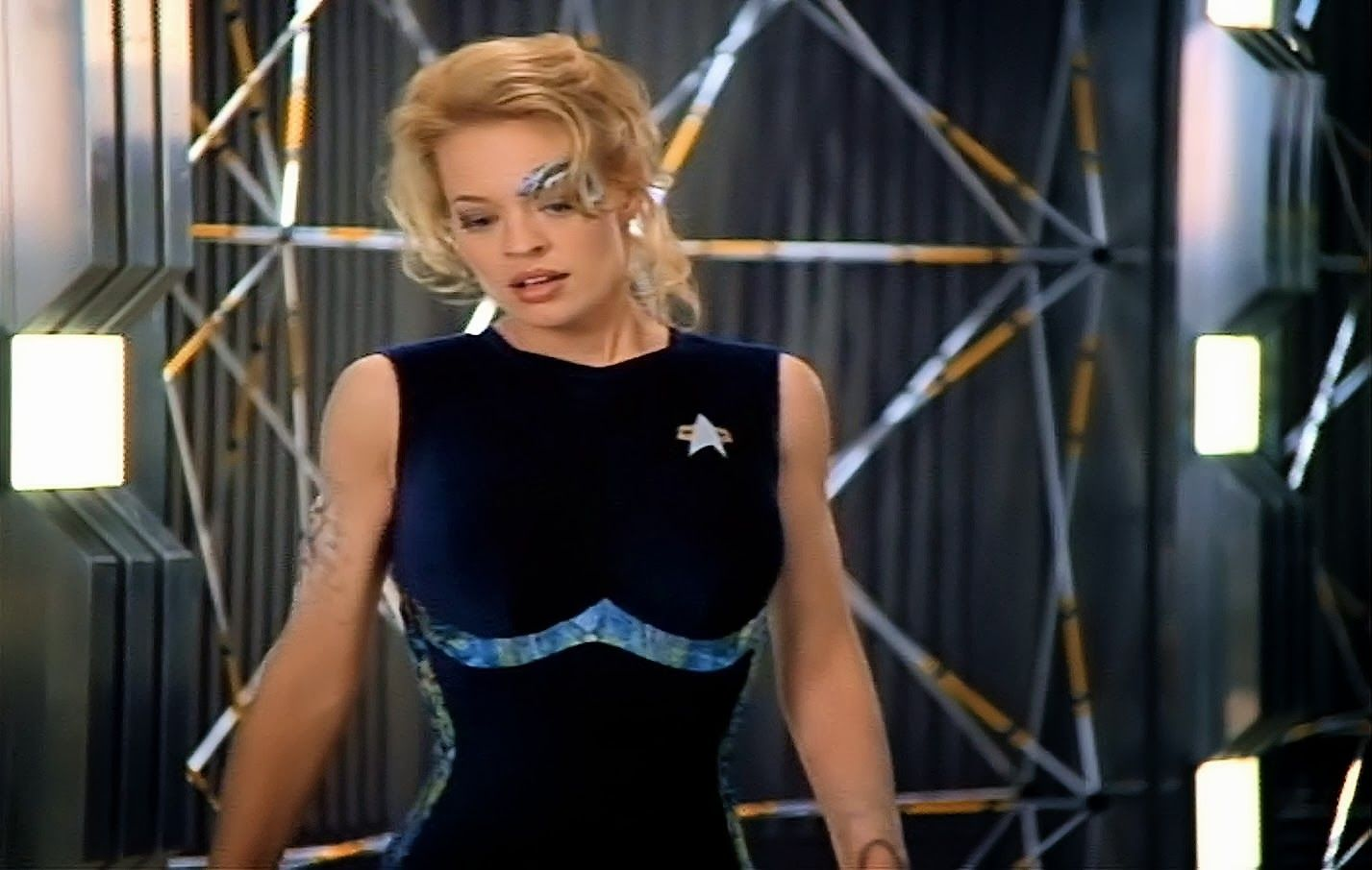 Presented Below Are Some Detailed Photos Of A Form Fitting Blue Jumpsuit Worn By The Lovely Jeri Ryan In Her Portray Star Trek Costume Star Trek Film Star Trek