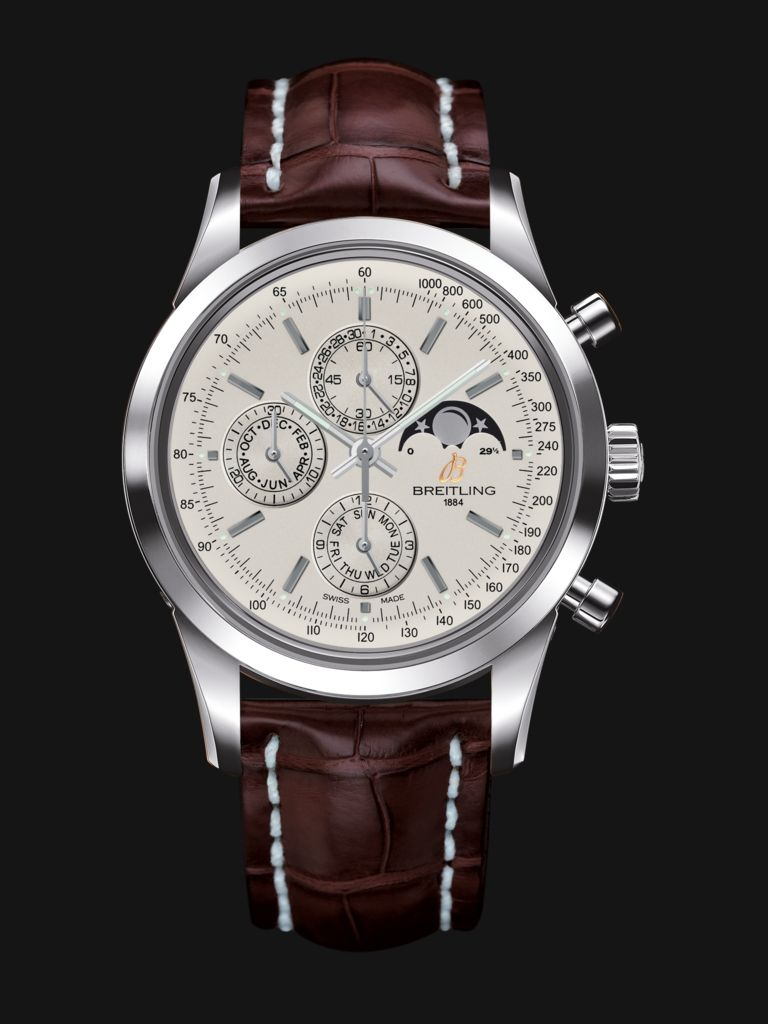 ab4a0930c10 Transocean Chronograph 1461 watch by Breitling - stainless steel case, white  silver face and chocolate brown crocodile strap