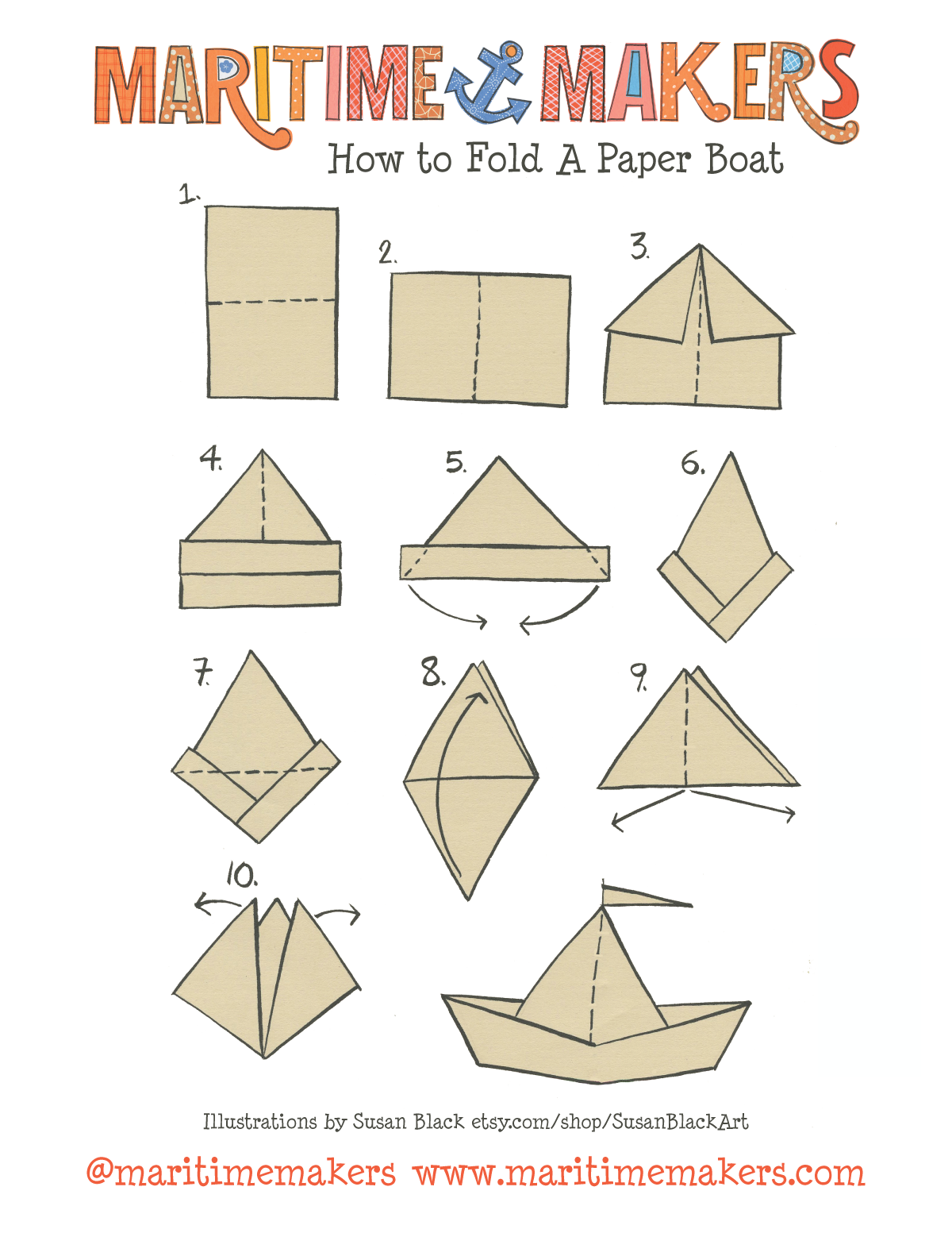 Maritime makers how to fold a paper boat printable for How to build a house step by step instructions