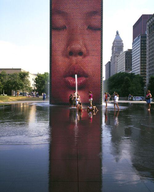 Virkistävä taideteos. crown fountain ~ krueck sexton architects   jaume plensa sculptor