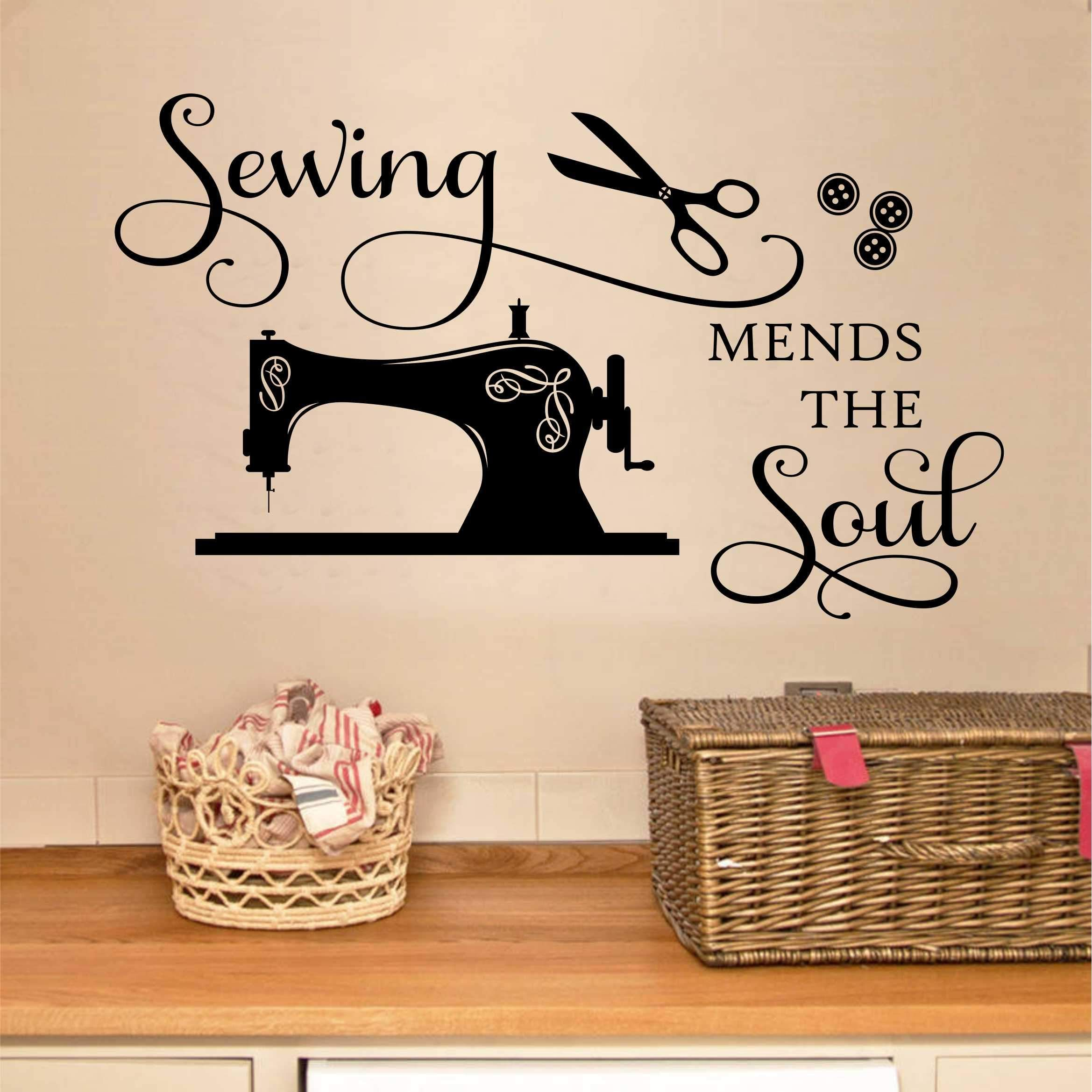 Craft Wall Decal Sewing Mends The Soul Seamstress Lettering