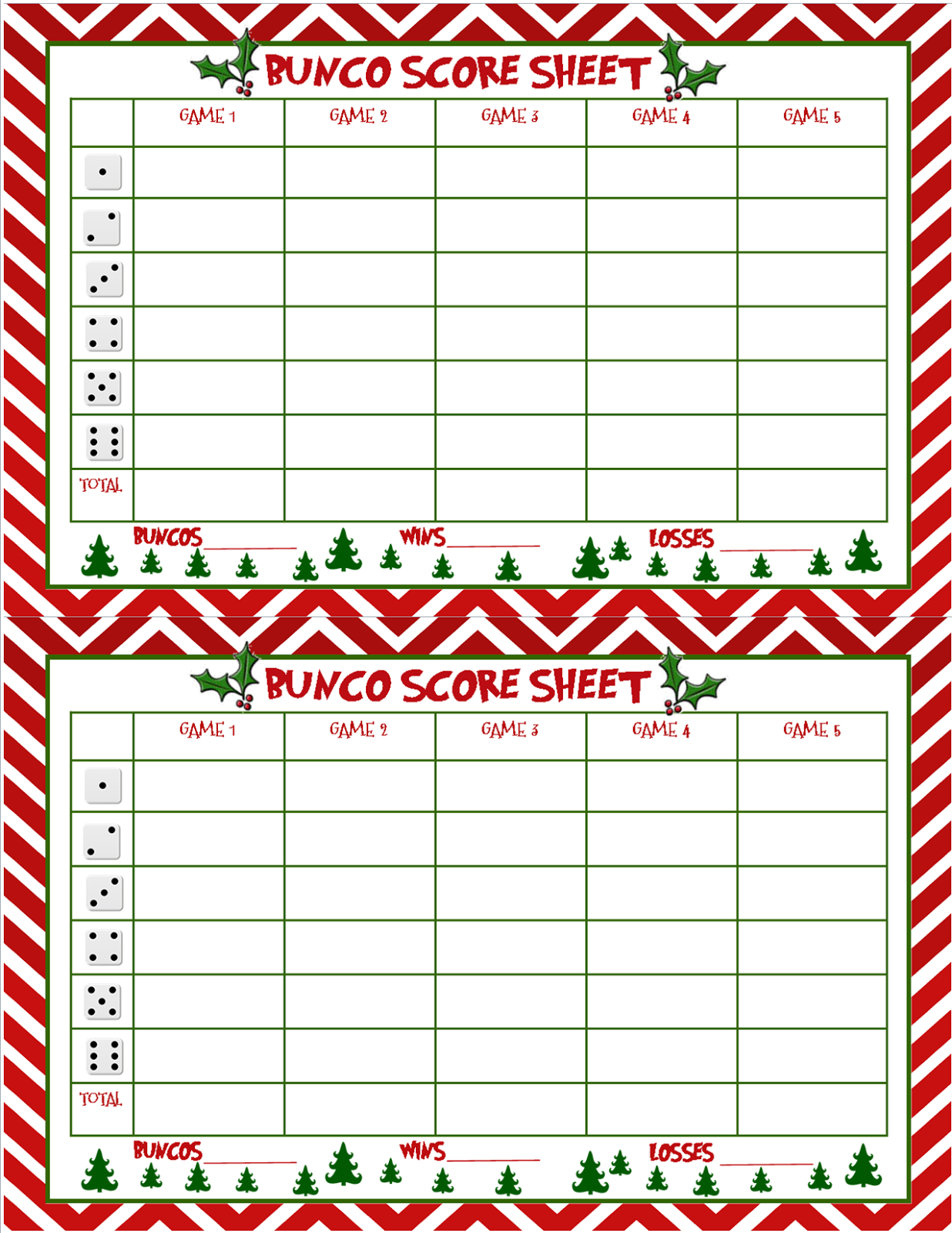 I Seemed To Have Skipped Making A Bunco Score Sheet For