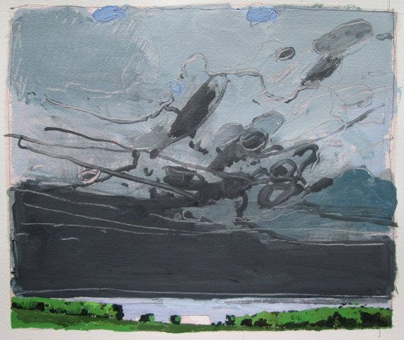 Sky Over Chickabiddy Farm Original Landscape Painting door Paintbox, $75.00
