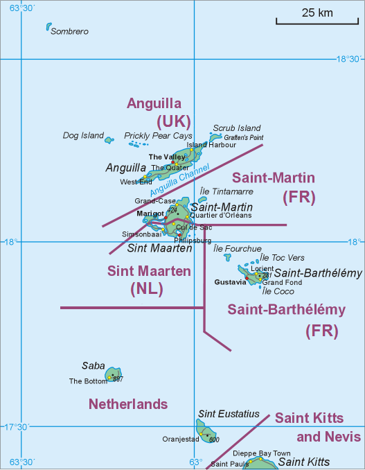 Map of middle part of Leeward Islands Anguilla SaintMartinSint