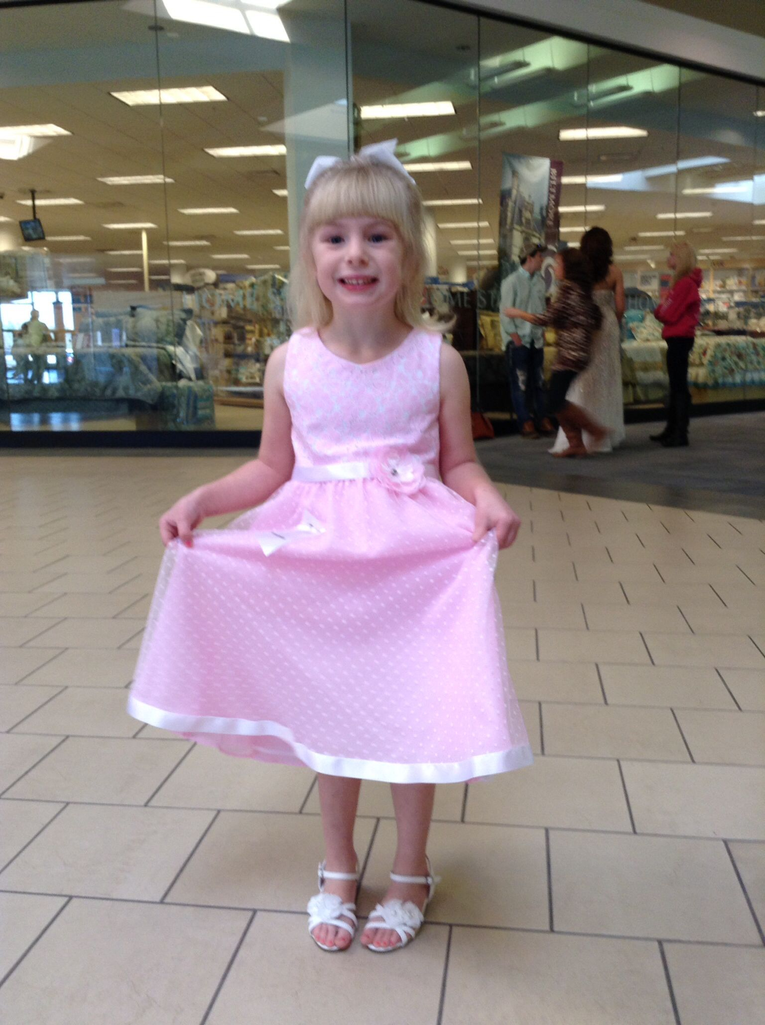 Kayliegh in her peagant dress at the Anderson mall