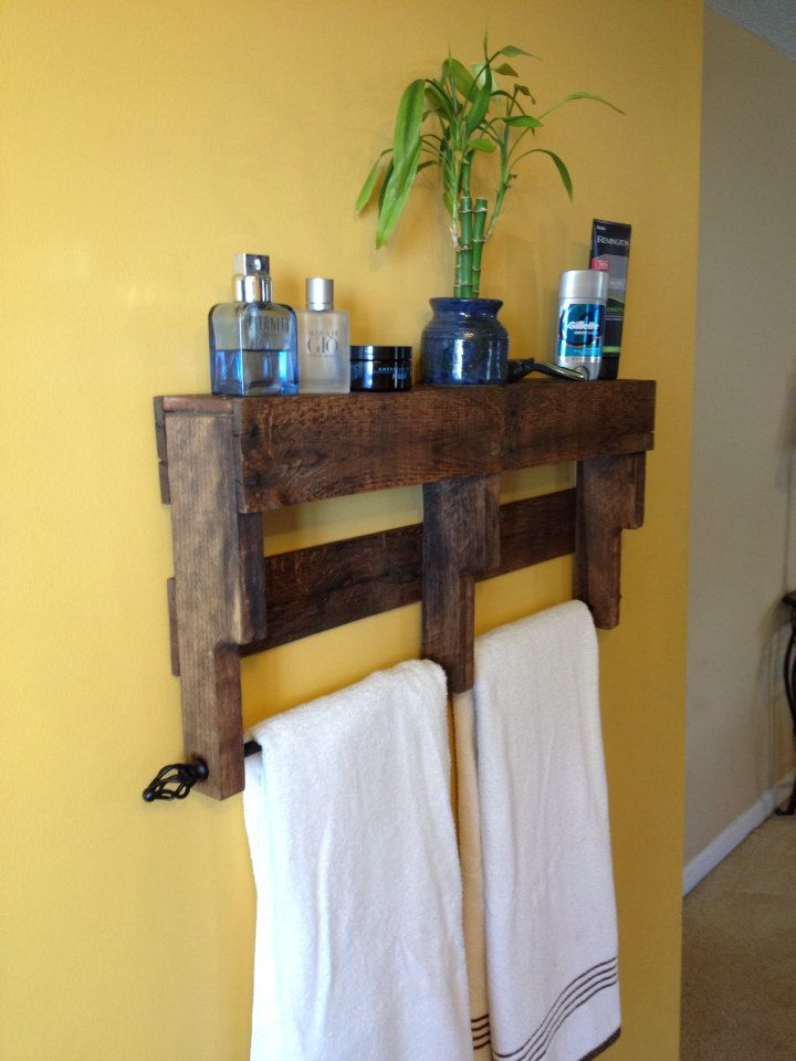 pallet towel rack shelf bathroom diy wood pallet