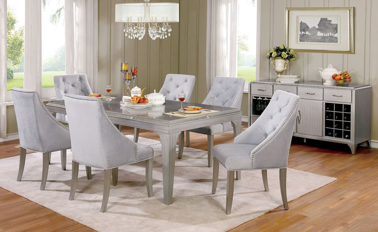 Marvelous Glamorous Silver Dining Table Set, $1,179.00 (https://www.ocfurniture.com/ Furniture Of America Cm3020t Dining Table Set/)