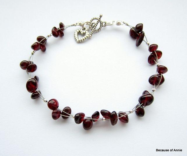 Genuine Garnet Multistrand Charm Bracelet - January Birthstone £14.00