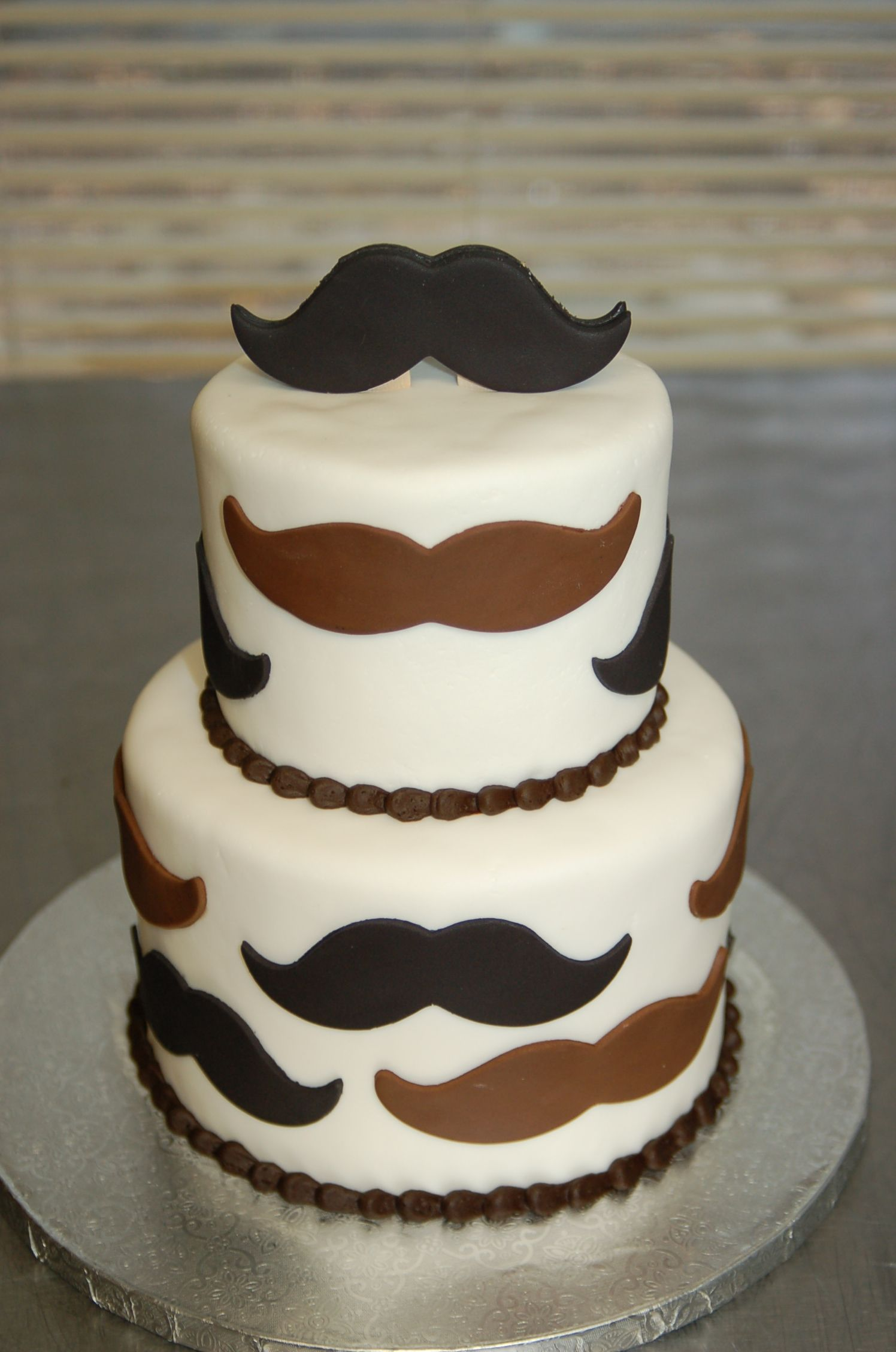 Mustache themed baby shower cake by Cake is the Best Part Redding