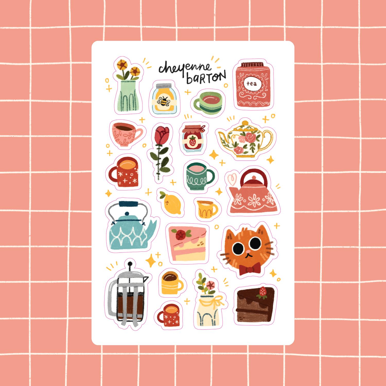 Afternoon Delight Clear Sticker Sheet Cheyenne Barton Clear Sticker Sheets Sticker Sheets Print Stickers