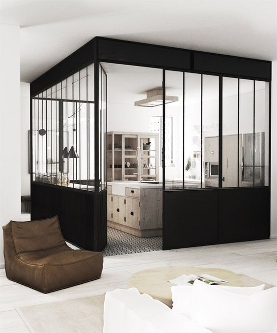 la verri re dans la cuisine 19 id es photos cloison vitre verri re cuisine et s parer. Black Bedroom Furniture Sets. Home Design Ideas