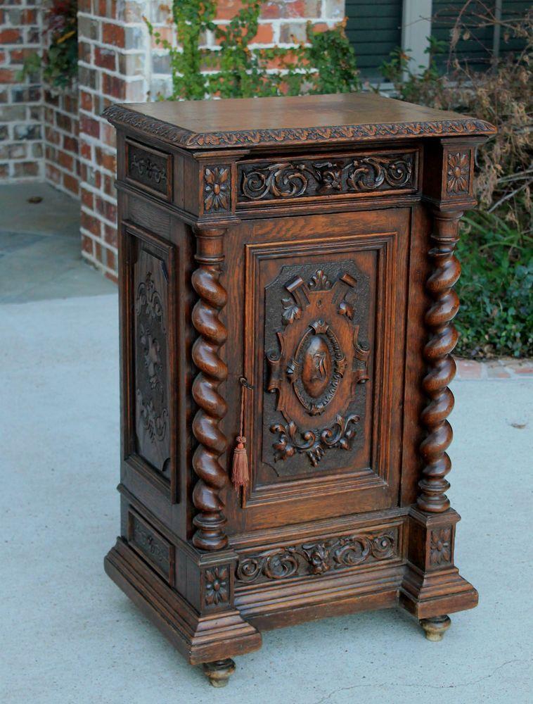 Antique French Oak Barley Twist Gothic Cabinet Pedestal