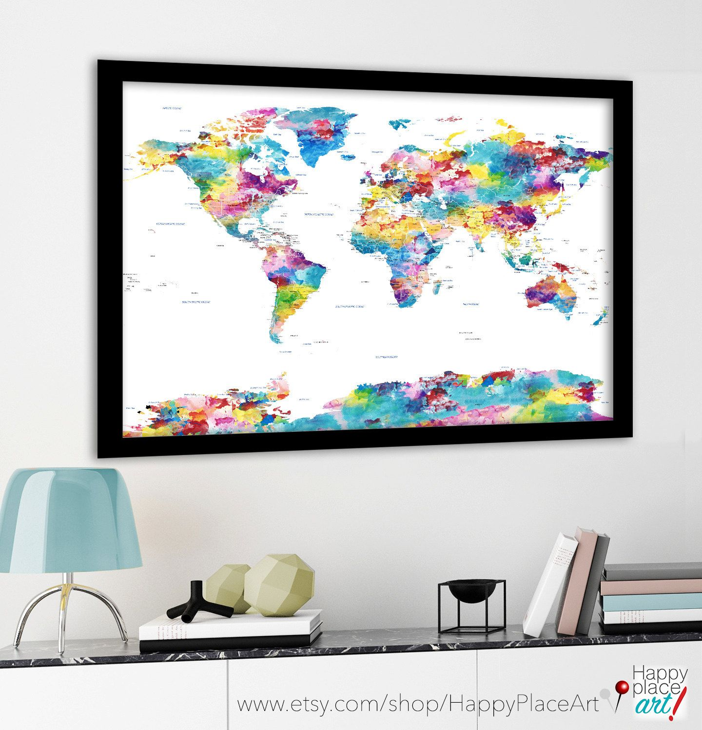 Large political world map with usa state borders and labels large political world map with usa state borders and labels pastel watercolor map huge sciox Images