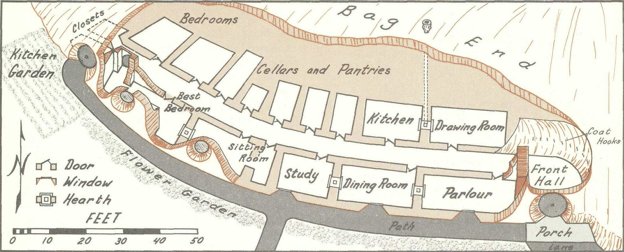 Artistu0027s Concept Of The Layout Of Bag End From U0027The Hobbitu0027 By J.R.R.