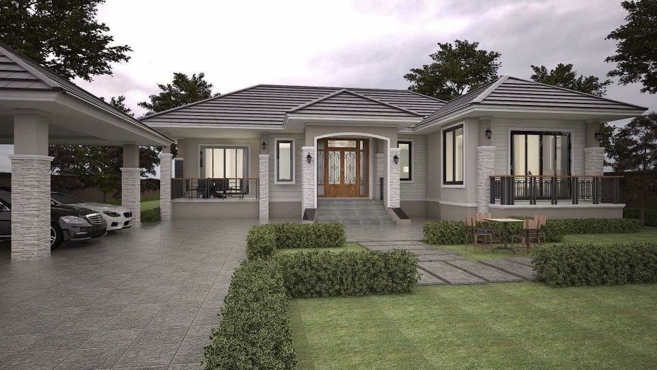 Small But Beautiful Single Story L Shape House Dream House Exterior Bungalow Homes L Shaped House Plans