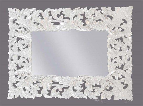 Specchio intagliato a mano argento bianco 120x90 cm baroque mirror wooden handmade white silver - Specchio barocco argento ...