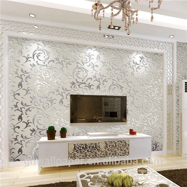 Wall paper design home decor 3d wallpapers silver metallic for Silver wallpaper living room