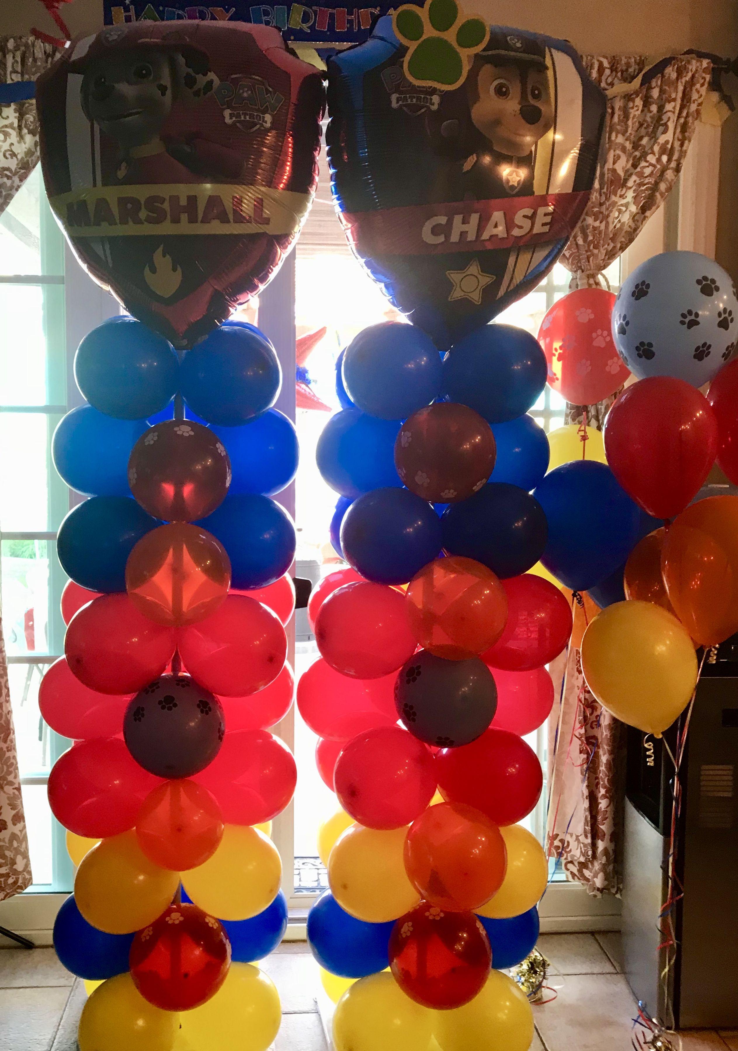 Paw Patrol Balloon Columns Pillars Paw Patrol Party Ideas Paw Patrol Balloons Paw Patrol Birthday Party Paw Patrol Party