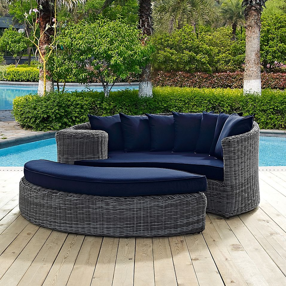 Modway Summon 2 Piece Outdoor Wicker Daybed In Navy