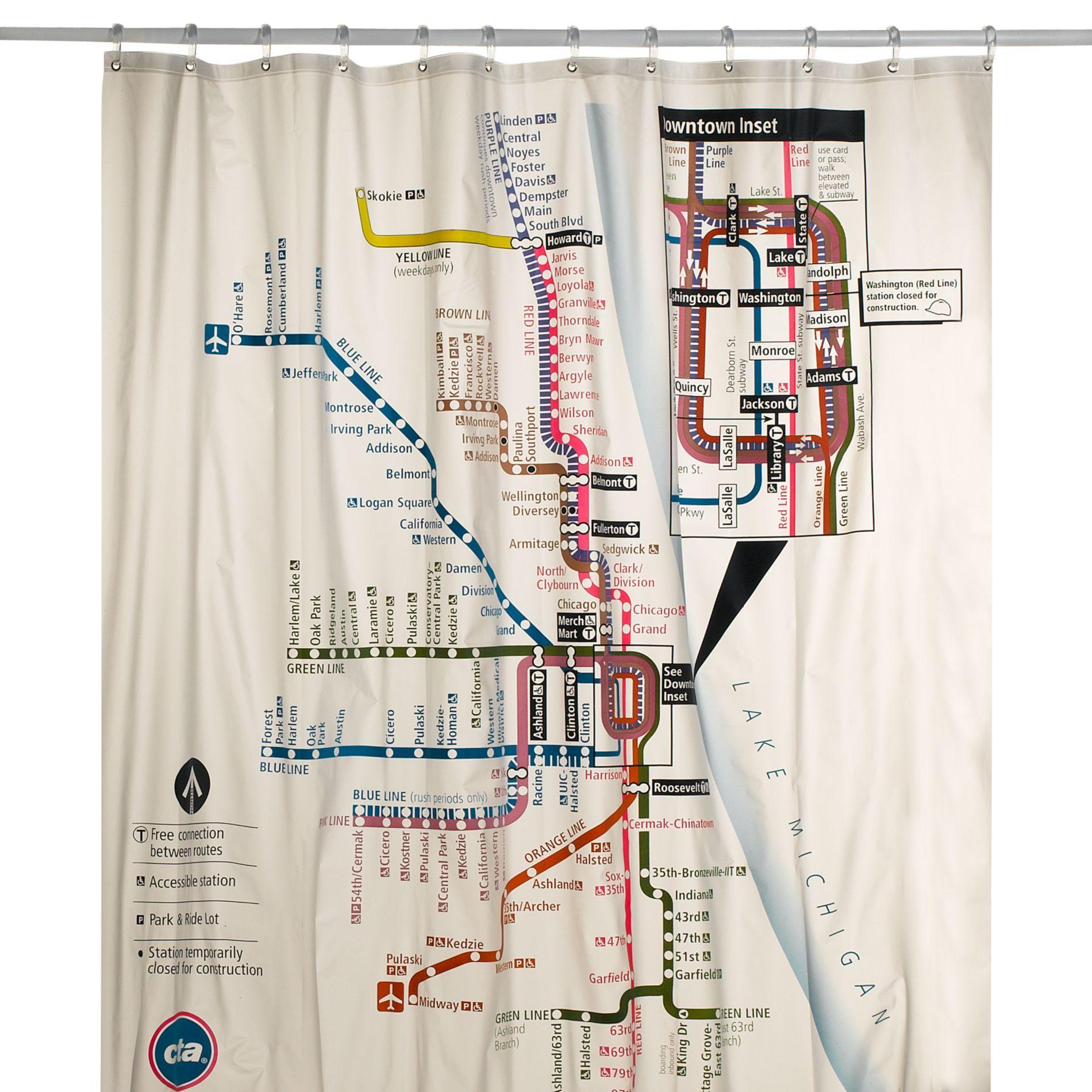 Chicago Cta Map Vinyl Shower Curtain Vinyl Shower Curtains