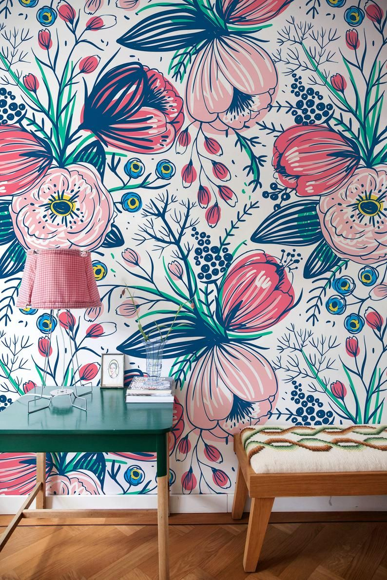 Removable Wallpaper Boho Wall Mural Peel And Stick Etsy In 2020 Wall Murals Jungle Wall Decor Removable Wallpaper
