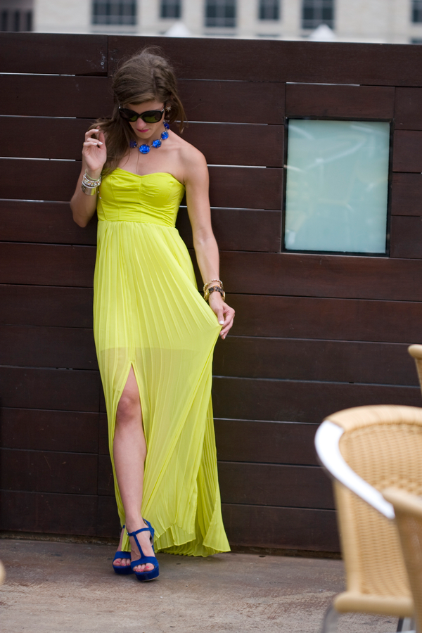 "Brighton of ""Brighton The Day"" wearing UO's pleated maxi dress #urbanoutfitters #pleated #maxi #neon #dress @brighton keller"